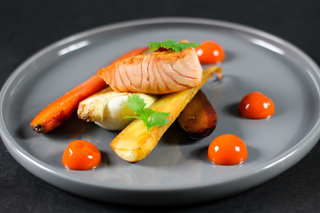 Recipe for Oven roasted Pak Choy and Carrots with Carrot Ginger Gel and Glazed Salmon
