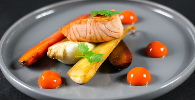 PAK CHOY & CARROTS WITH CARROT GINGER GEL & SALMON (GF)