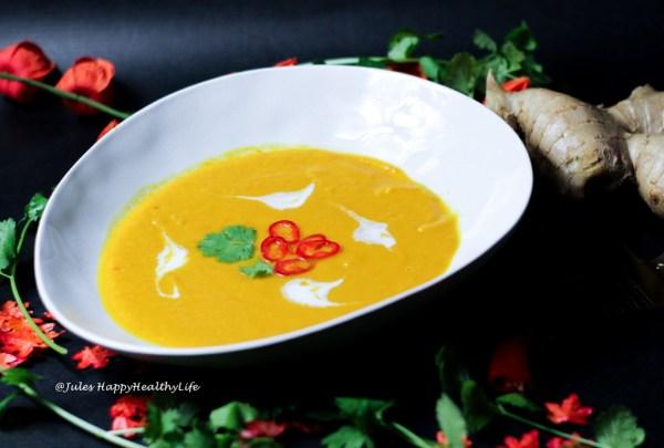 Rezept für schnelle Curry Kürbis Karotten Suppe
