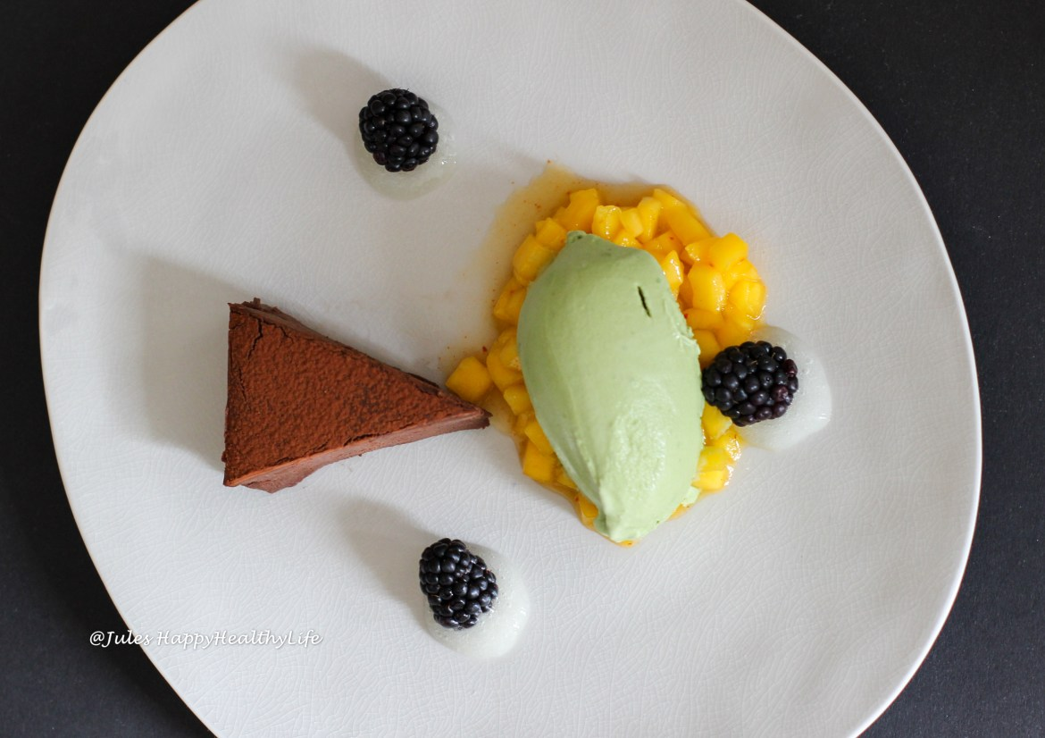 Mango Chili Chutney with some Tequila served with Chocolate Ganache Tarte and Matcha Ice Cream