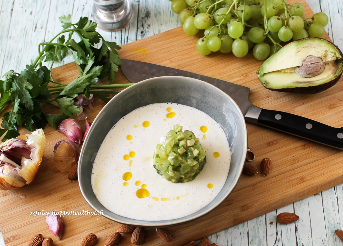 "Almond Gazpacho ""Ajo Blance"" with Grape Avocado Taratar"