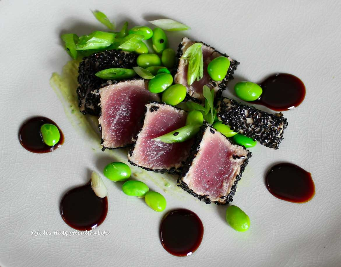 Edamame with the Tuna Tataki with Ginger Soy Reduction