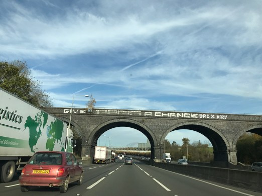 Give Peas A Chance Graffiti slogan, M1