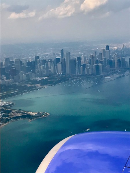 view of Chicago from airplane