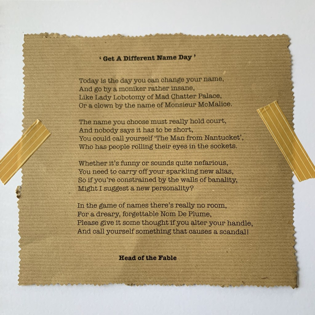 Poem about names on a piece of paper