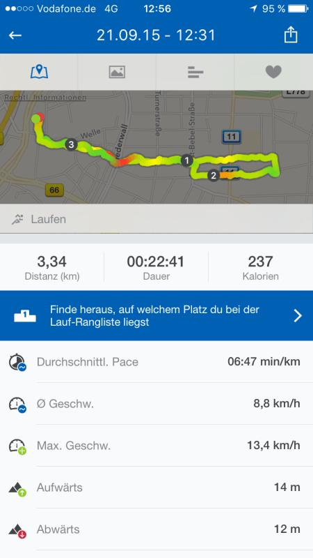 Jogging-Strecke und -Zeit von Dienstag.