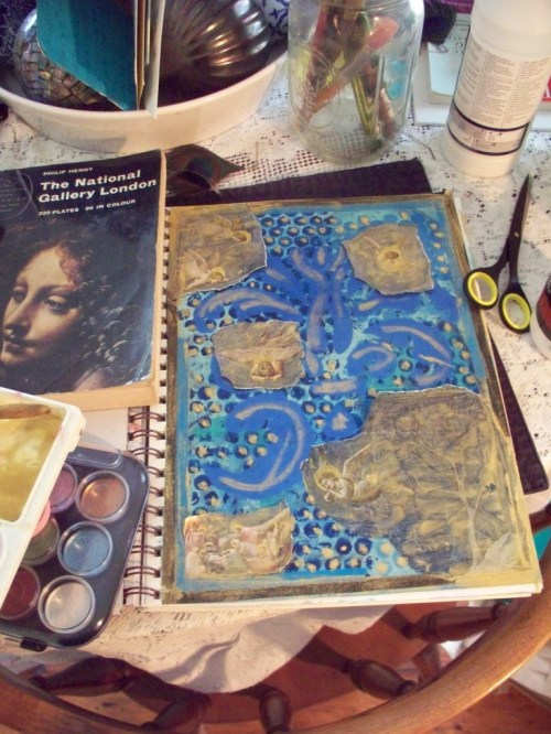 Journal page in progress, with cut outs from Giotto, and the Leonardo angel who lead me to the treasure box.