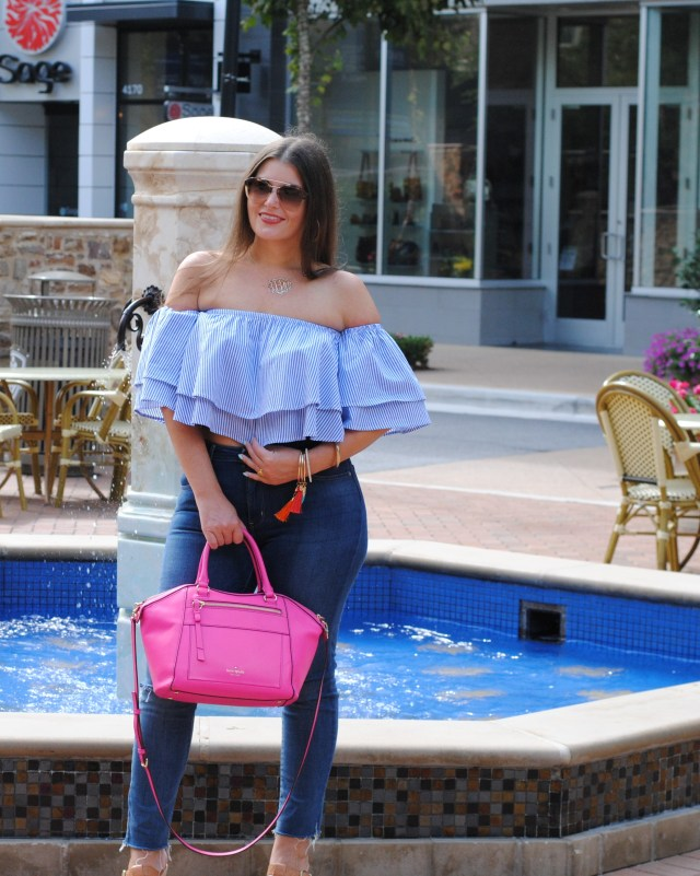 Ruffle off the shoulder top skinny jeans