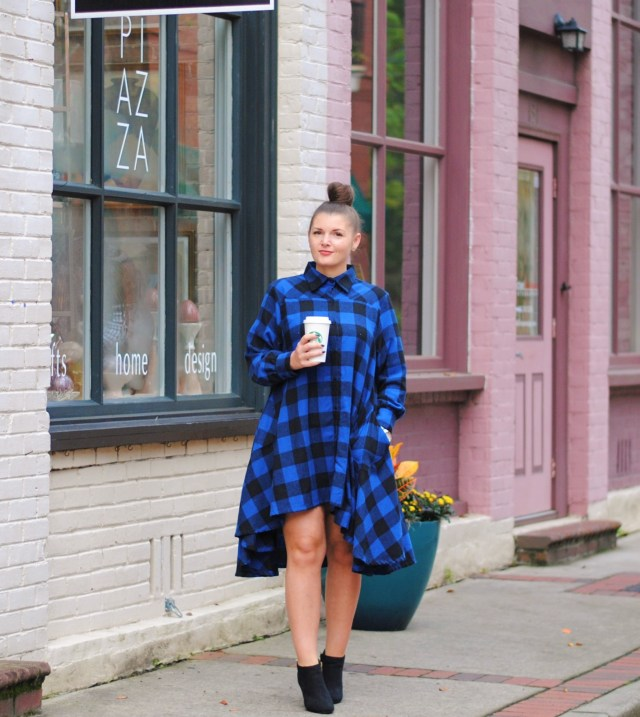 Blue and Black Buffalo Plaid Dress and Booties