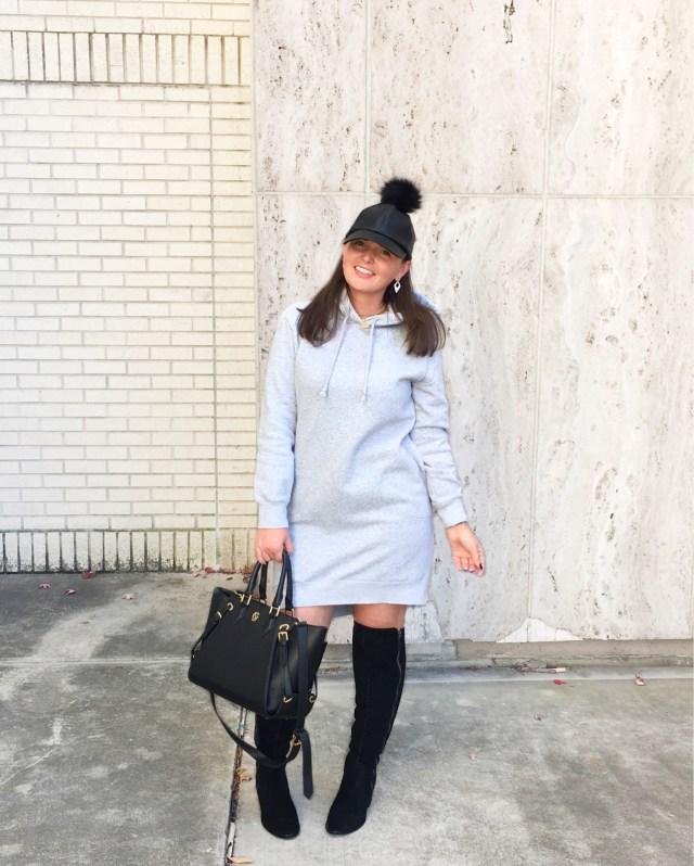 OTK BOOTS + SWEATSHIRT DRESS