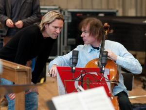 Julian recording with Eric Whitacre (credit Chris O'Donovan)
