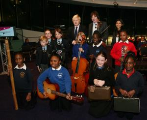 Julian Lloyd Webber and The Mayor of London Boris Johnson with In Harmony Lambeth children