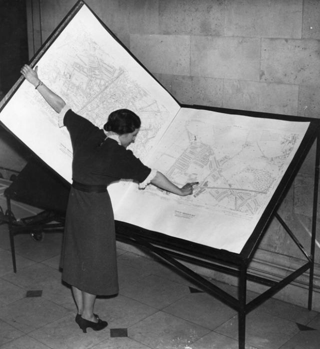 14. Bibliotecaria inspeccionando atlas