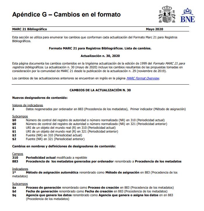 Actualización 30 Formato MARC 21 para Registros Bibliográficos