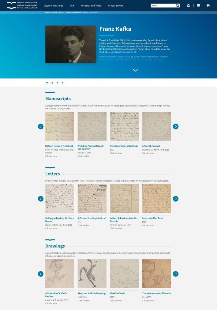 Archivo de Franz Kafka digitalizado por la Biblioteca Nacional de Israel