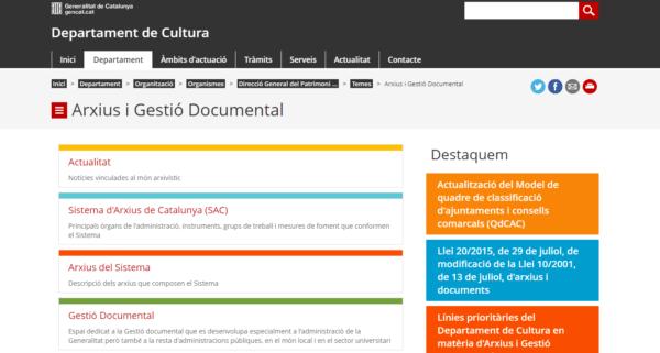 Arxius i Gestió Documental – Sistema de Archivos de Cataluña