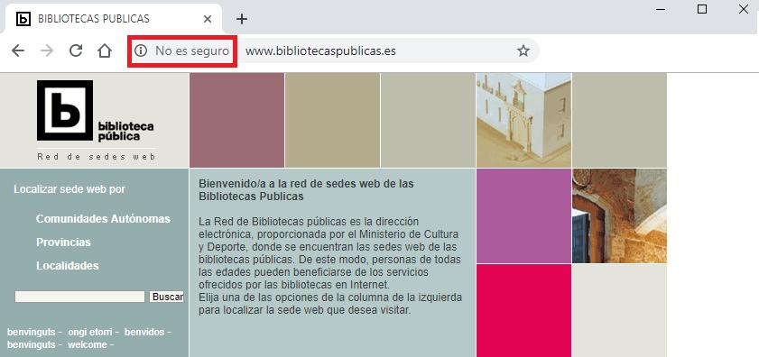 Ausencia de certificado de seguridad en las Bibliotecas Públicas de España