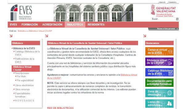 Biblioteca Virtual de la Conselleria de Sanitat Universal i Salut Pública