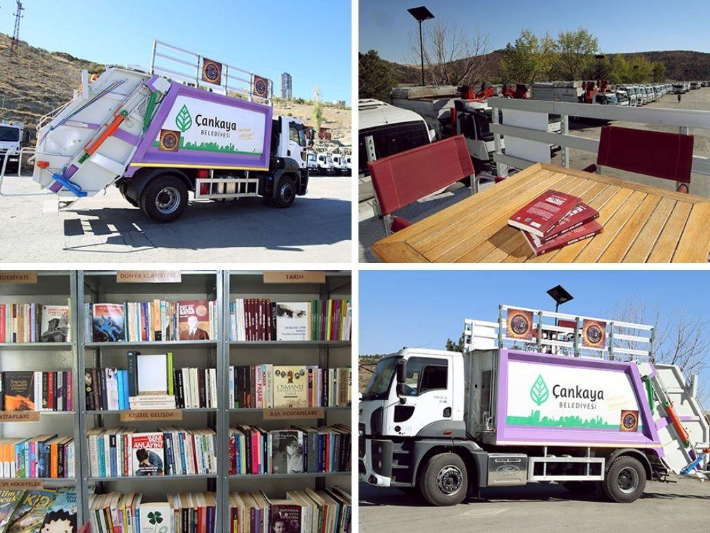 Camión de la basura reconvertido a biblioteca móvil