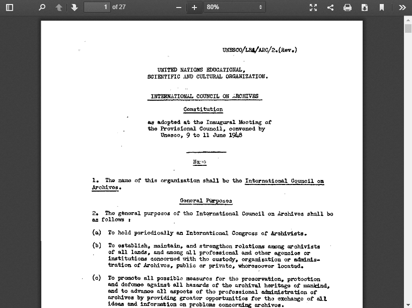 Constitution International Council on Archives 1948