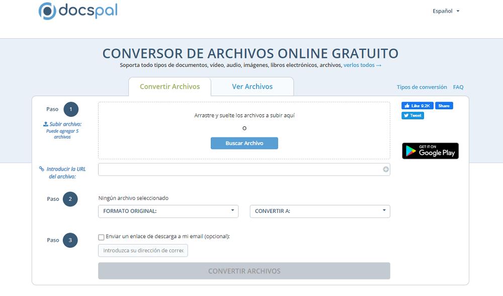 Conversor de archivos online gratuito DocsPal