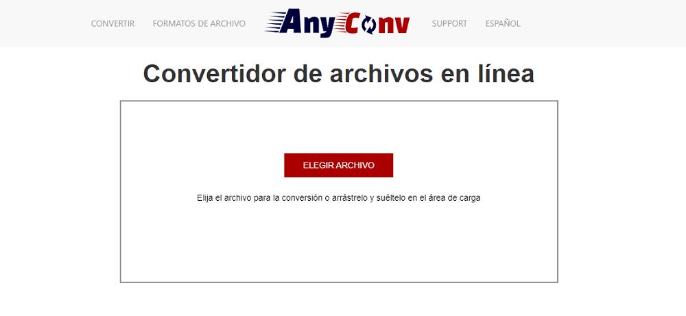 Convertidor archivos en línea AnyConv