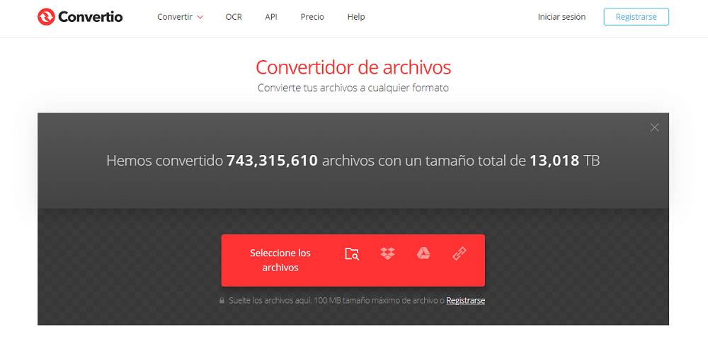 Convertidor de archivos Convertio