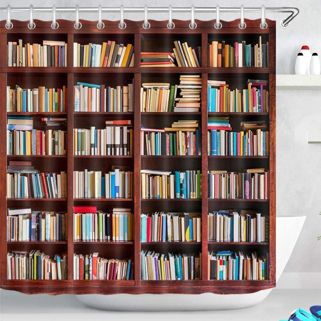 Cortina de bañera con estampado de estantería de libros