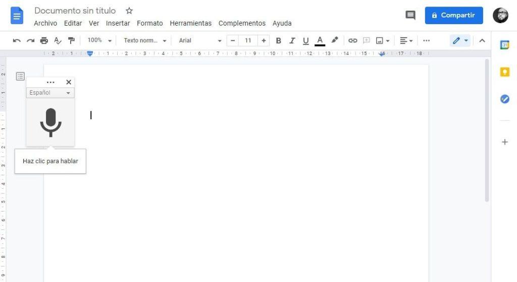 Escribir con la voz a través en documentos de Google