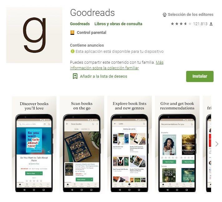 Goodreads aplicaciones lectura