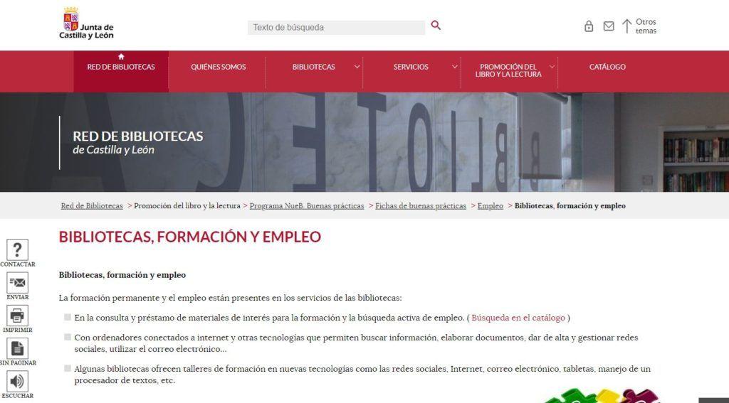Información en la página web de la Red de Bibliotecas de Castilla y León: Bibliotecas, formación y empleo