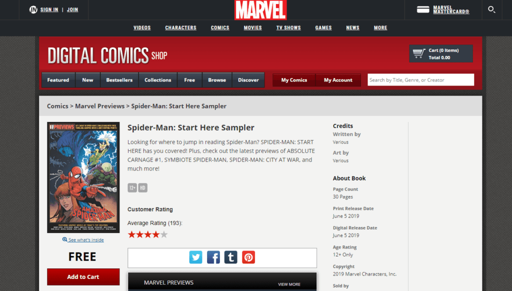 Marvel Digital Comics Shop