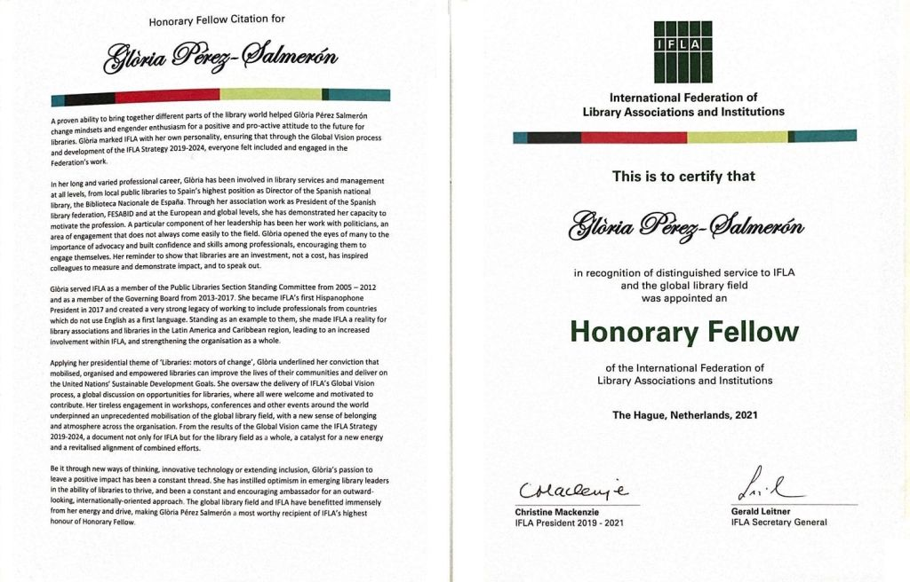 Mención de Miembro Honorífico para Glòria Pérez-Salmerón