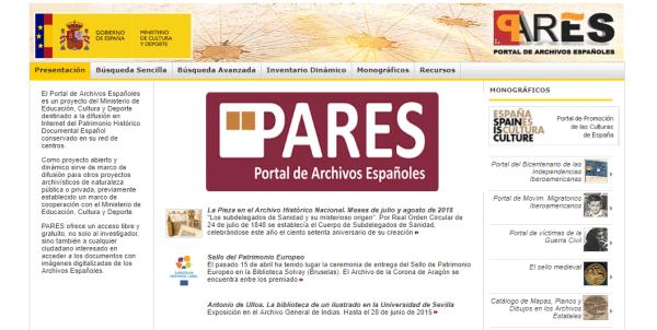 PARES – Portal de Archivos Españoles