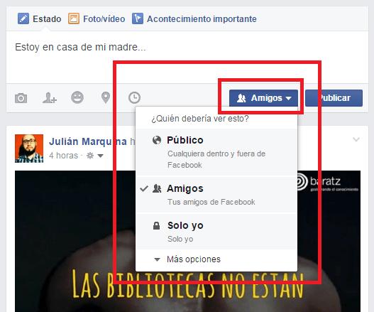 Publicación en Facebook - privacidad