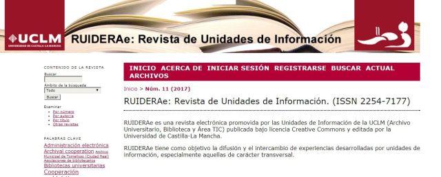 RUIDERAe Revista de Unidades de Información