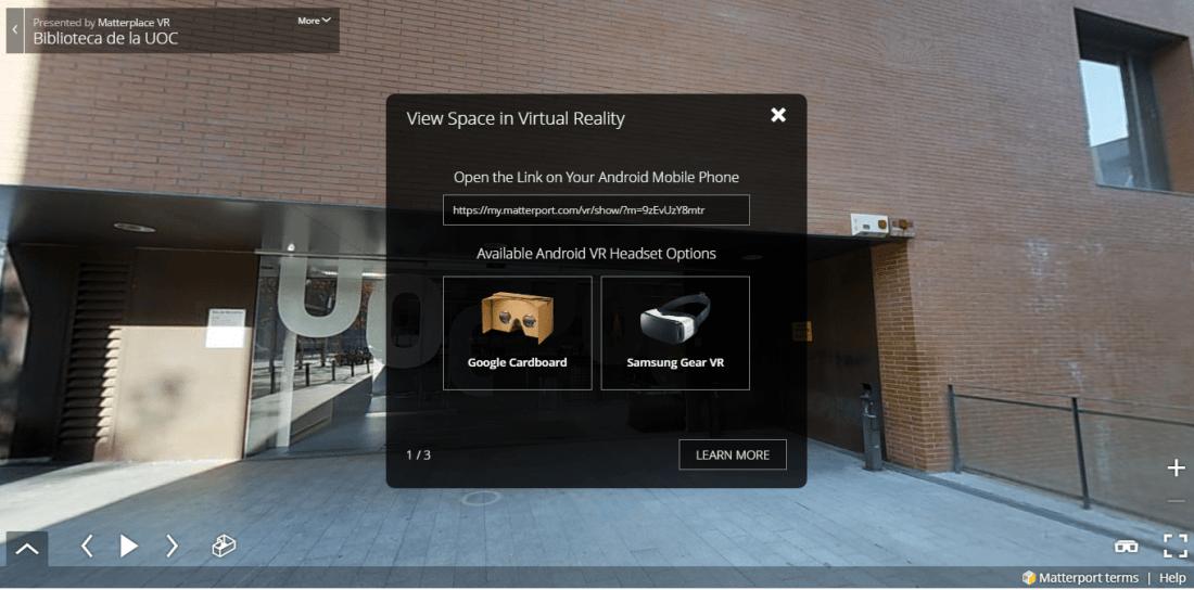 Recorrido por la sede de la Biblioteca UOC con realidad virtual