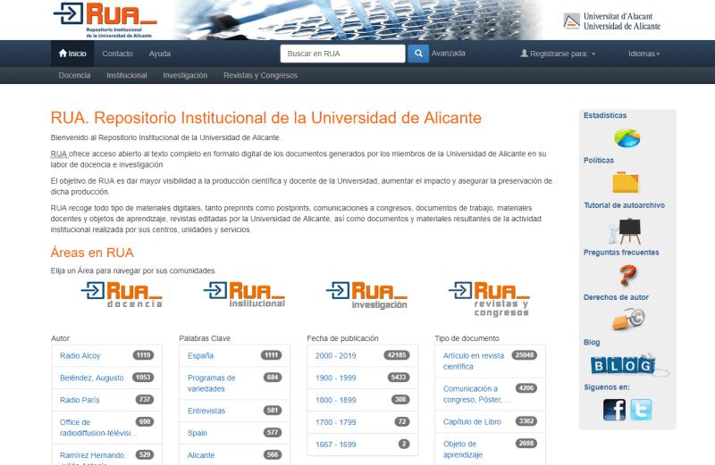 Repositorio Institucional de la Universidad de Alicante – RUA
