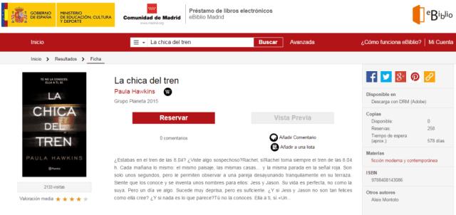 Reservas de La chica del tren eBiblio Comunidad de Madrid