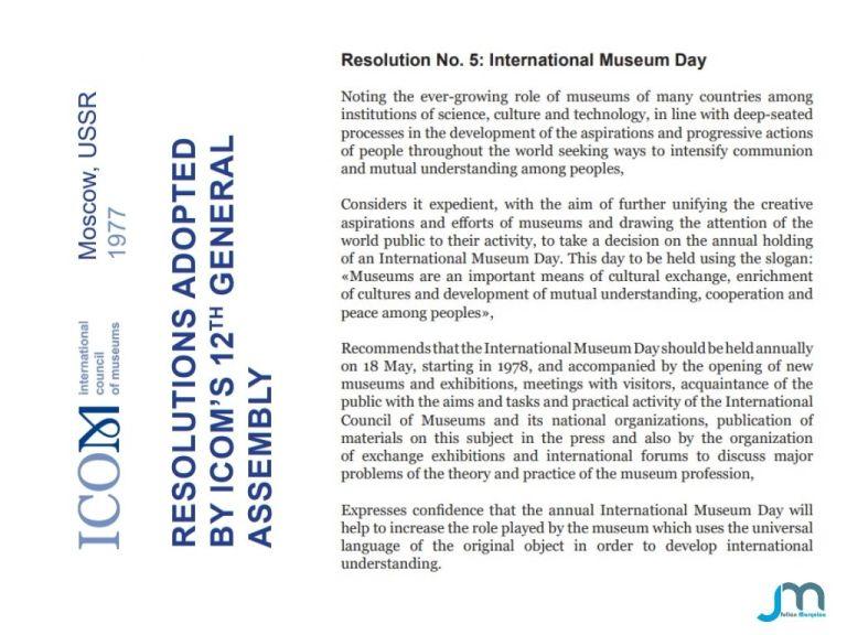 Resolution N 5 International Museum Day