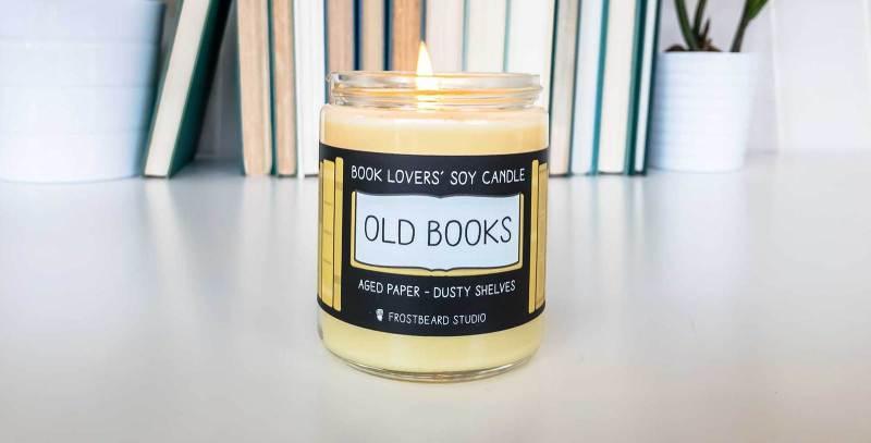 Velas con olor a bibliotecas, libros y librerías
