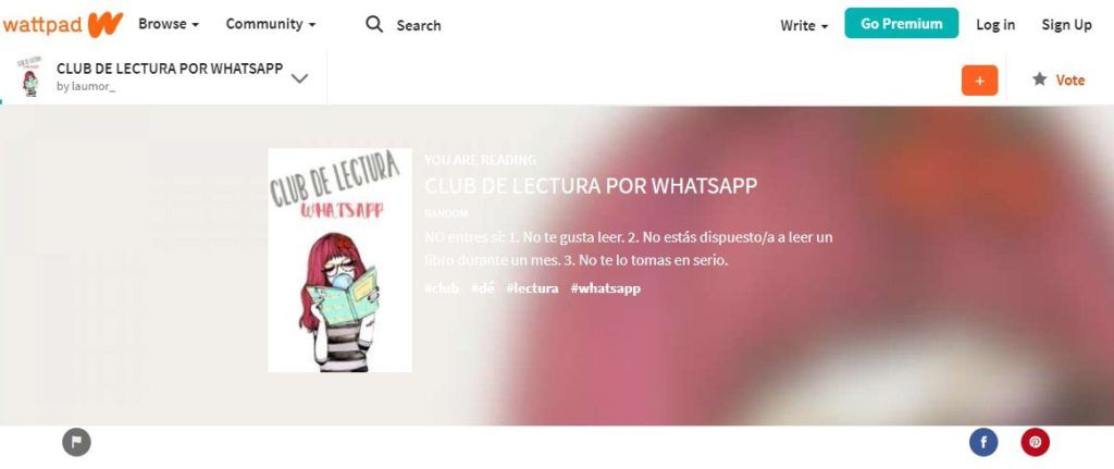 Wattpad. Club de lectura por WhatsApp