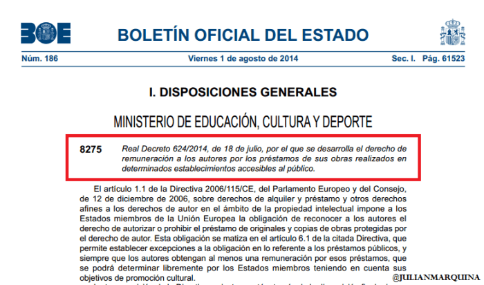 Pantallazo Real Decreto 624/2014