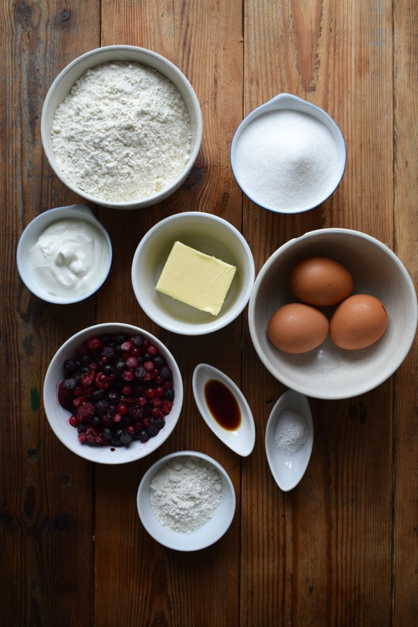 Ingredients to make the Very Berry Loaf Cake