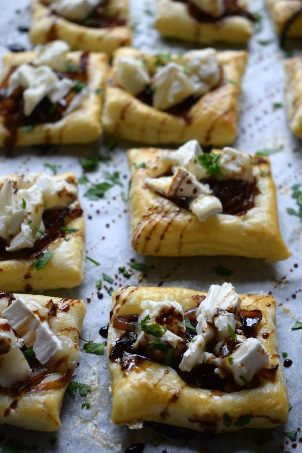 close up of goat cheese tarts