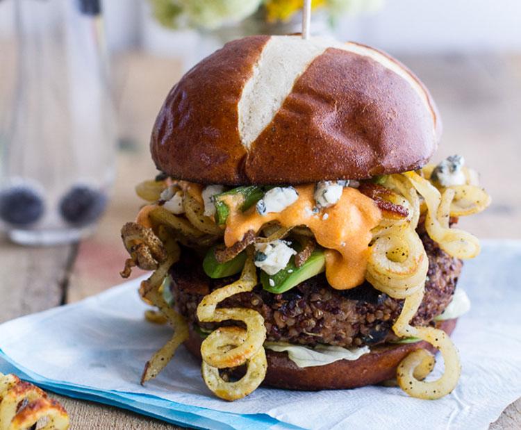 Buffalo blue cheese quinoa burger