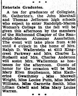"""""""Entertain Graduates."""" Richmond Times-Dispatch, June 14, 1932"""