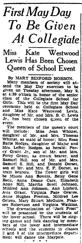 """""""First May Day To Be Given At Collegiate"""" Richmond Times-Dispatch, May 5, 1933"""