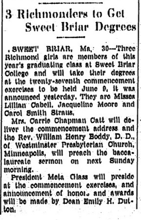"""3 Richmonders To Get Sweet Briar Degrees,"" Richmond Times-Dispatch, May 31, 1936"