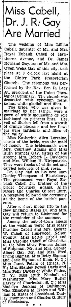 Wedding Announcement, Lillian Cabell and Dr. James Rowland Gay, Richmond Times-Dispatch, July 3, 1940